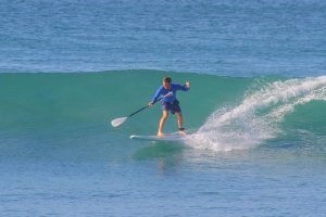 Catching a wave on a SUP