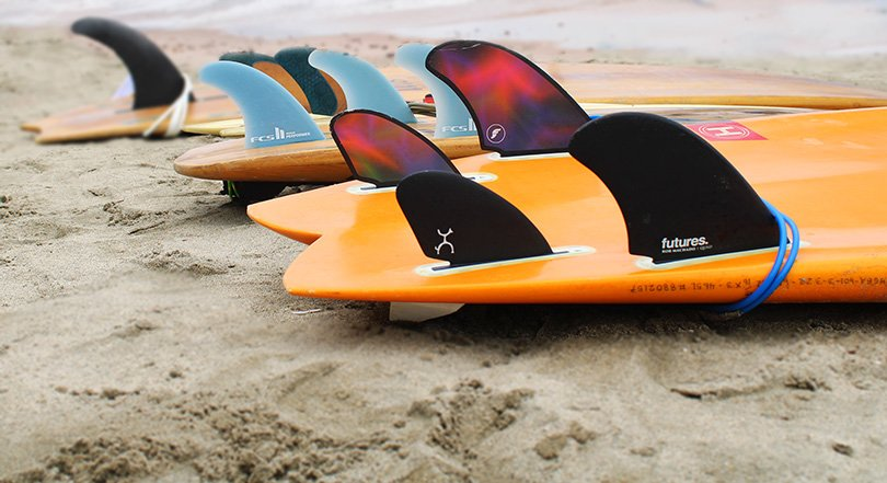 surfboards in the sand after our Surf camps in Sayulita
