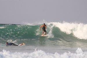 surfing at La Lancha beach